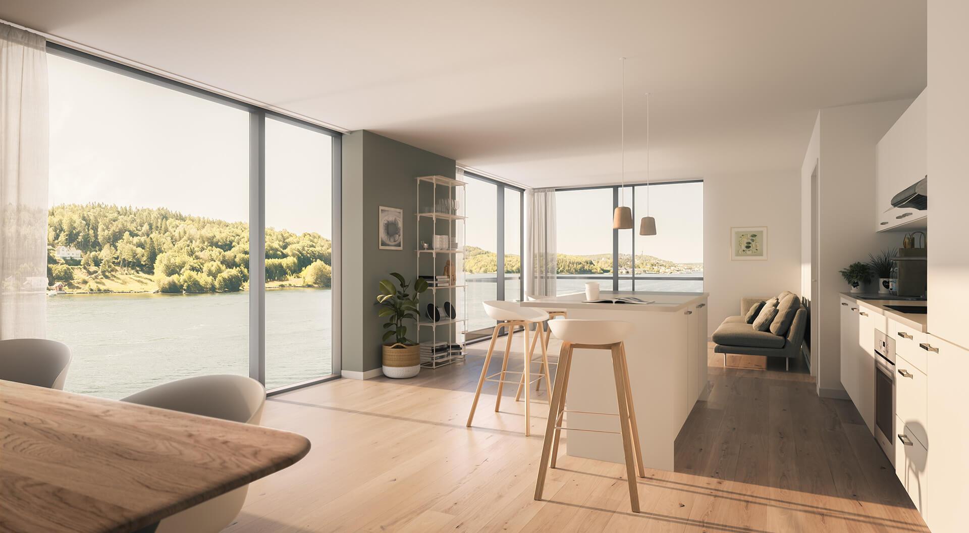 Store vindusflater fra gulv til tak gir lyse rom. Her er leilighet E 304. (Illustrasjonbilde. Endringer kan forekomme.)