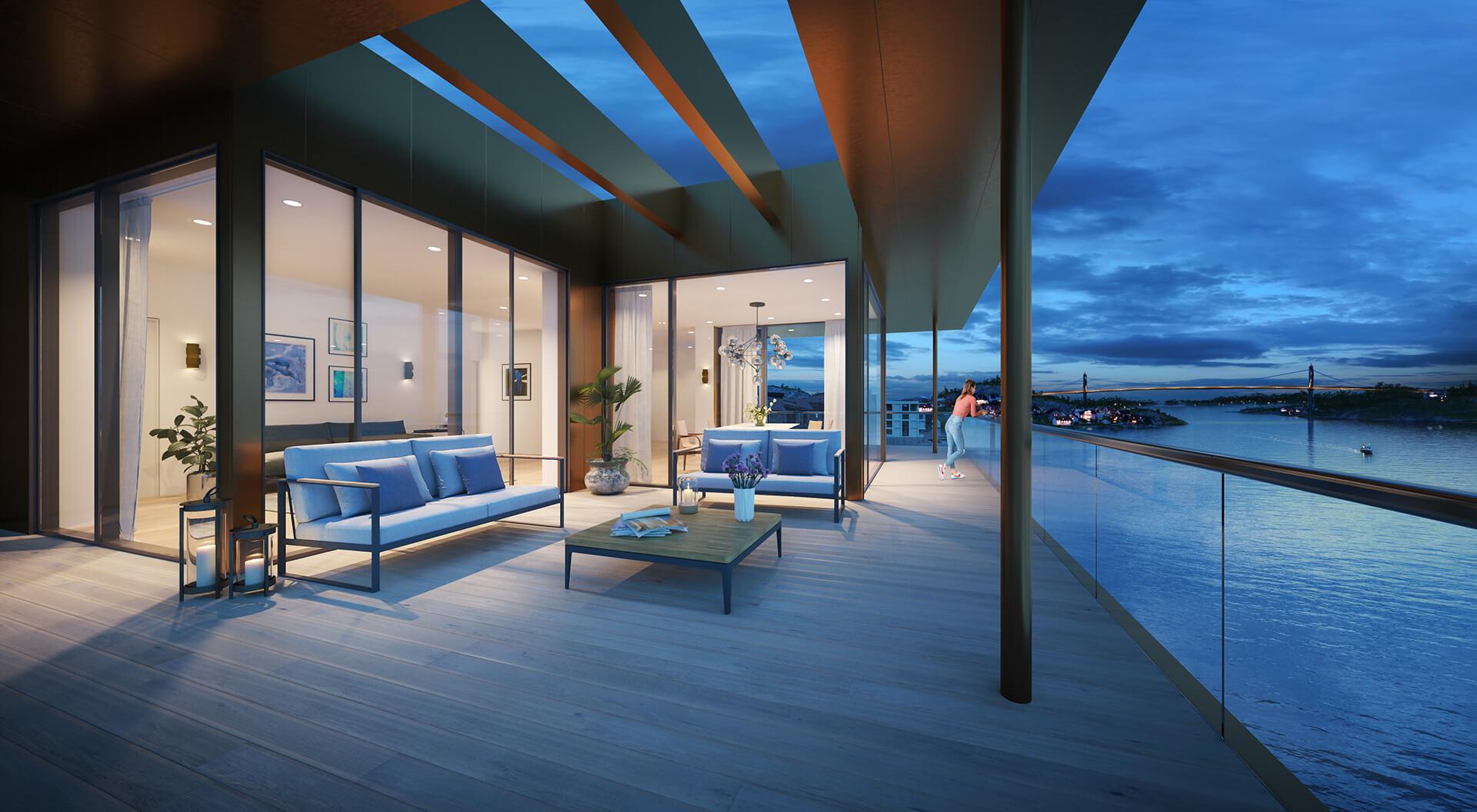 E 403 ligger øverst i E-bygget, og er en av de mest spektakulære leilighetene. (Illustrasjonbilde. Endringer kan forekomme.)