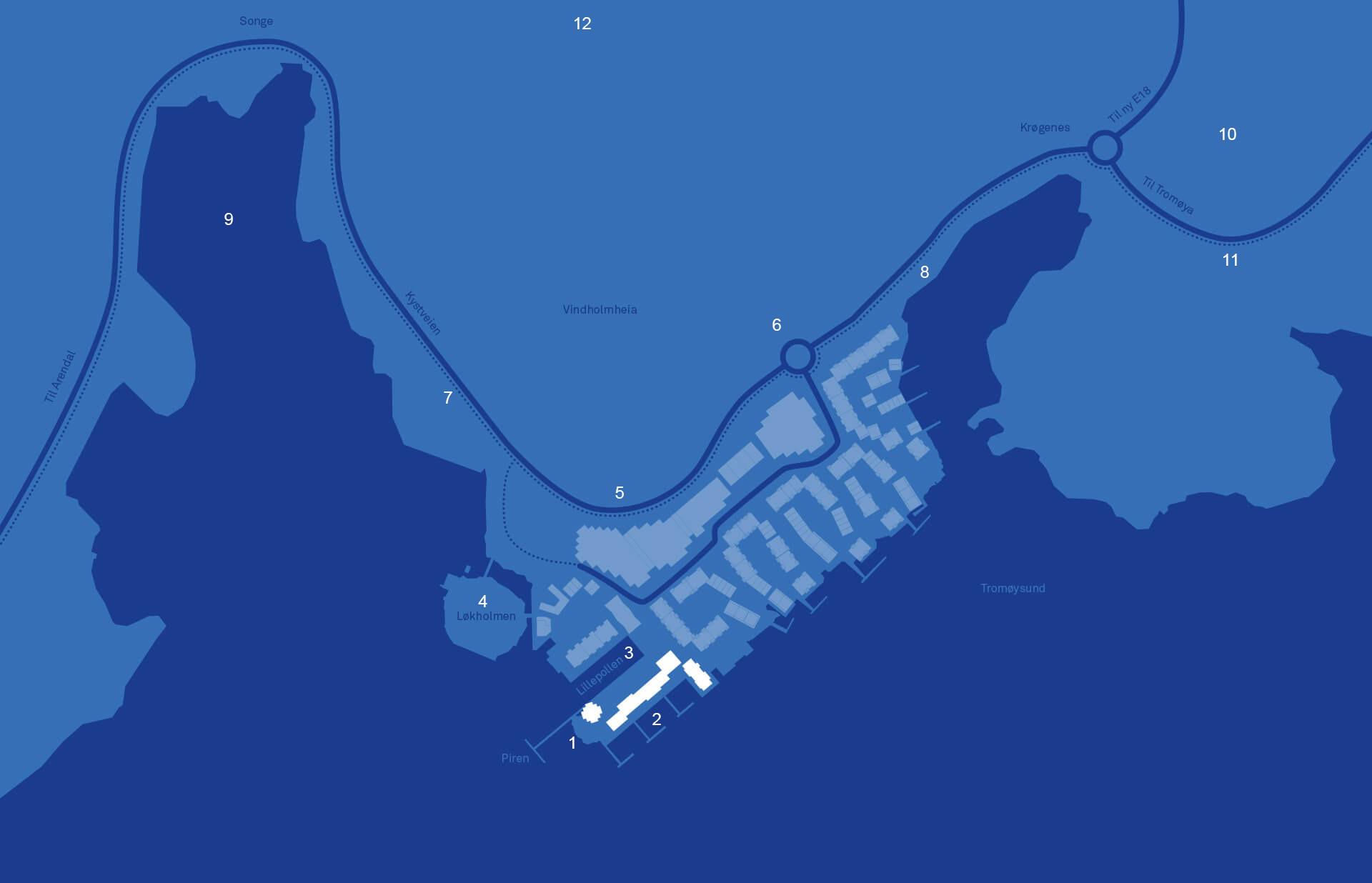 1 Piren. 2Bryggeanlegg med båtplasser. 3 Lillepollen. 4 Løkholmen, byens nye badeplass. 5 Kystveien, fylkets beste kollektivtilbud. 6 Ny rundkjøring til Bryggebyen. 7 Sykkel- og gangsti til sentrum. 8Sykkel- og gangsti til Krøgenes. 9 Songebukta, stor kommunal båthavn. 10 Krøgenes, dagligvarebutikker, treningsstudio og apotek. 11 Sykkel- og gangsti til Tromøya. 12 Lysløype Enghaven/Birkenlund og stinett for terrengsykling.