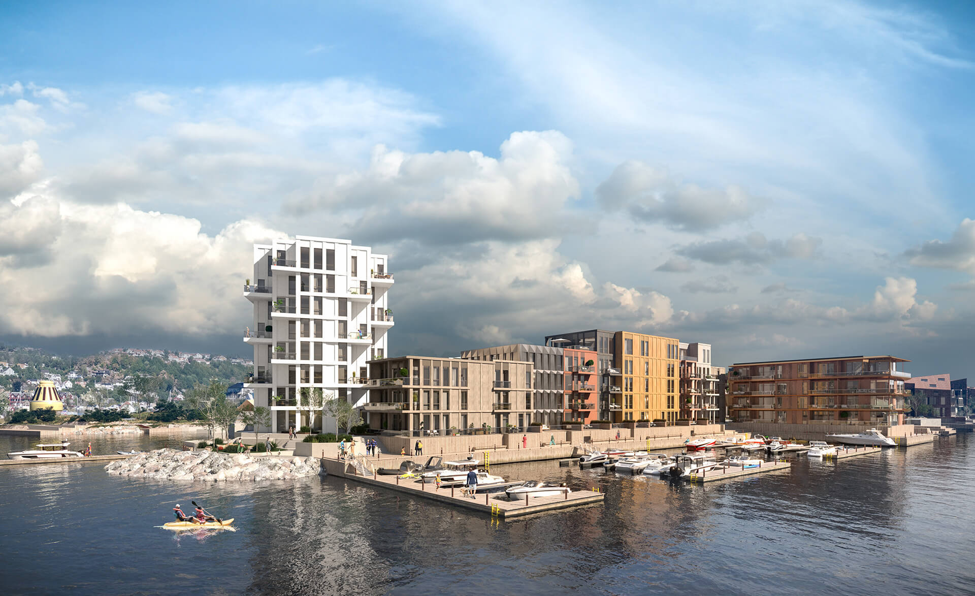Bryggebyen ligger ved sjøkanten på Vindholmen. Utenfor døren venter brygga, båten og badeplassene. (Illustrasjonsbilde. Endringer kan forekomme.)