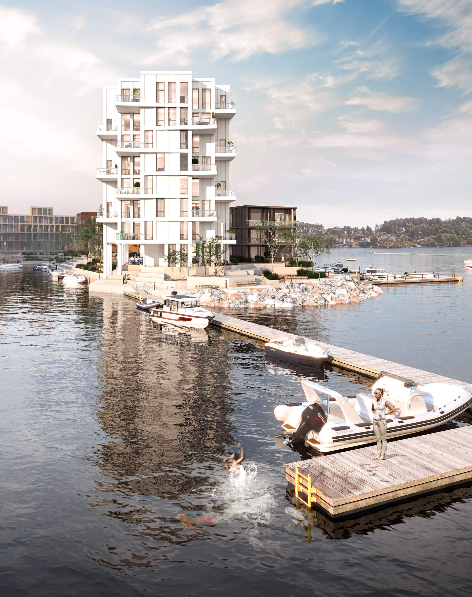Bygg A ligger praktfullt til, med panoramautsikt over Tromøysund. (Illustrasjonsbilde. Endringer kan forekomme.)