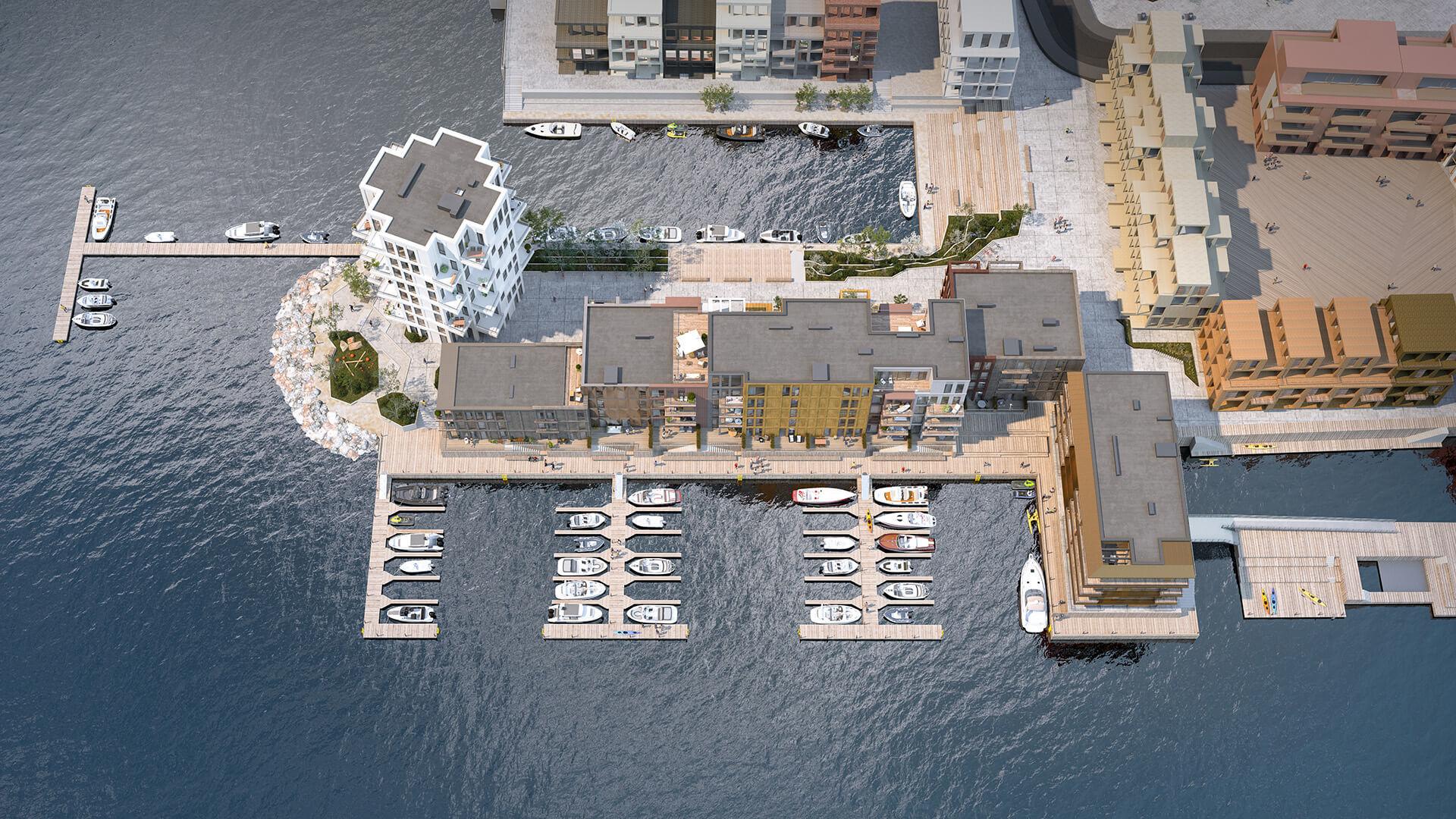 Bygg A, B, C, D og E ligger ytterst på Piren, omsluttet av sjø, og badet i sol. (Illustrasjonsbilde. Endringer kan forekomme.)
