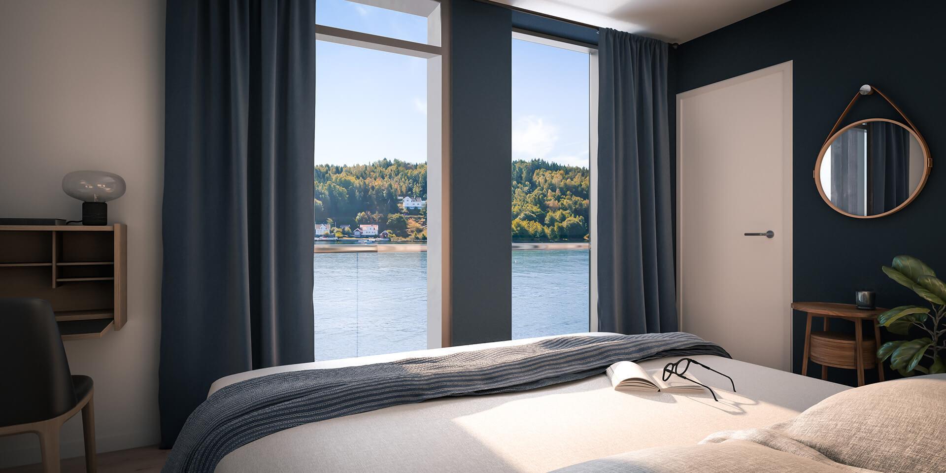 På soverommet i B 201 kan du våkne til utsikt over Tromøysund. (Illustrasjonbilde. Endringer kan forekomme.)