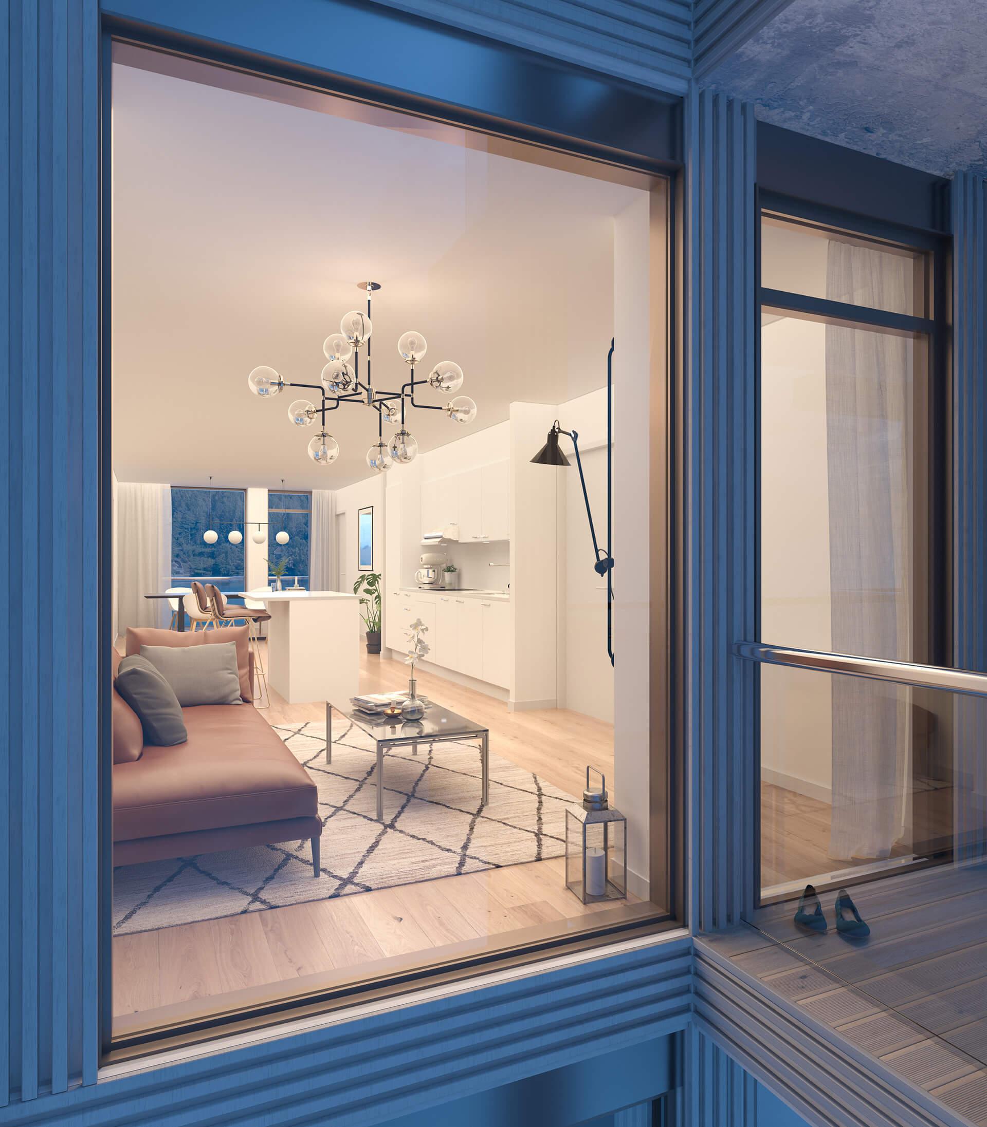 Store vindusflater fra gulv til tak gir lyse rom i leilighet E 304. (Illustrasjonbilde. Endringer kan forekomme.)