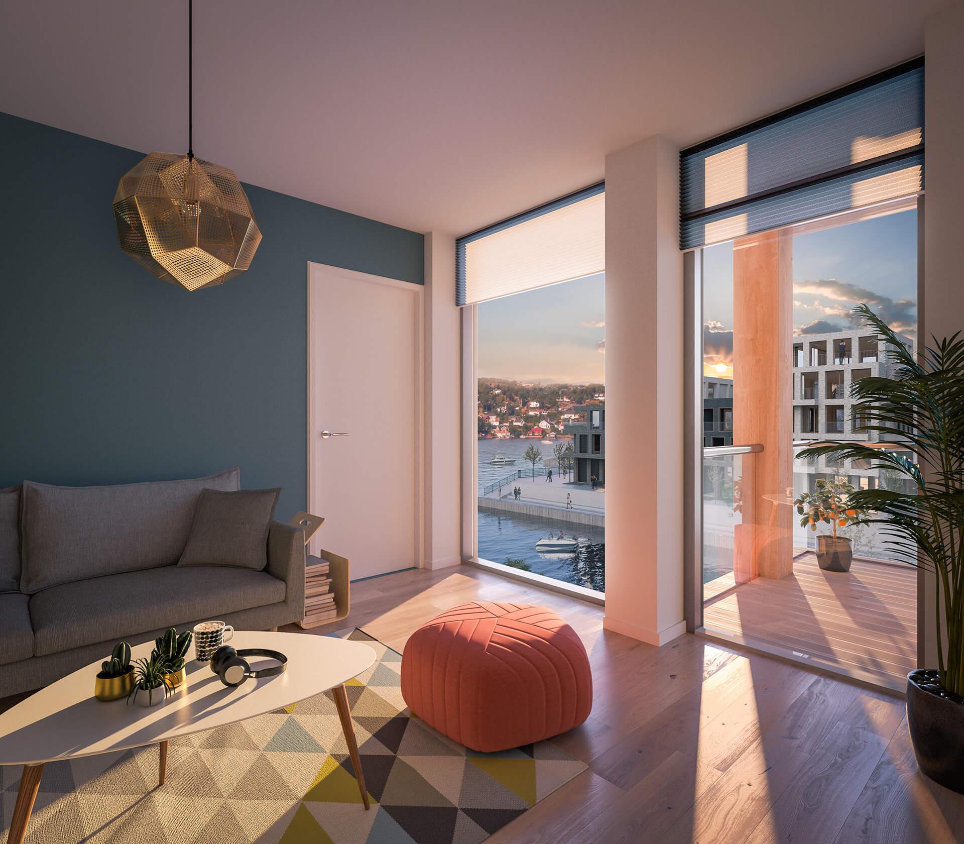 Balkonger er plassert slik at man ser vannflaten også inne fra stua. Her fra leilighet i C 203. (Illustrasjonbilde. Endringer kan forekomme.)