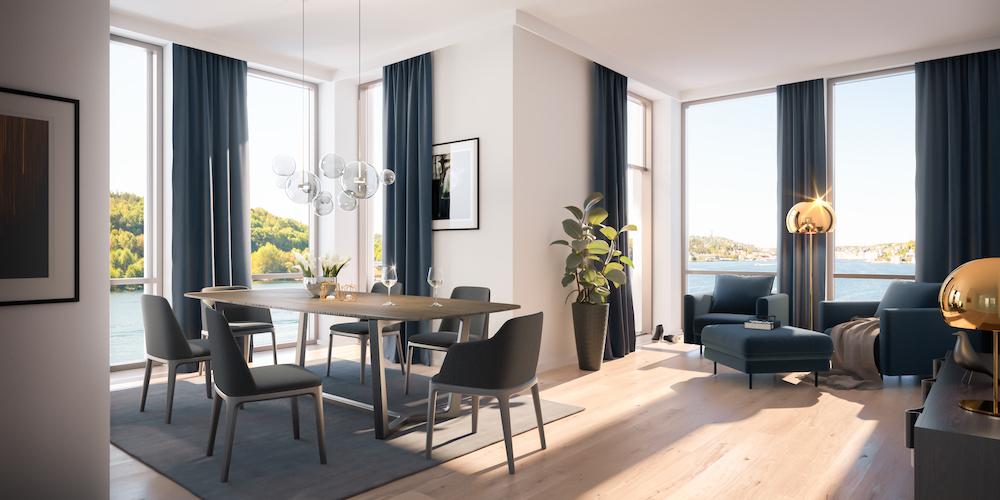 I første og øverste etasje får leilighetene ekstra takhøyde. Her er A 802. (Illustrasjonsbilde. Endringer kan forekomme.)
