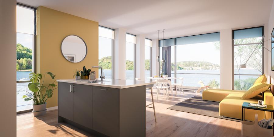 Lys inn fra to sider, og åpne, praktiske romløsninger gir lyse og luftige boliger. Her er leilighet B 101. (Illustrasjonsbilde. Endringer kan forekomme.)